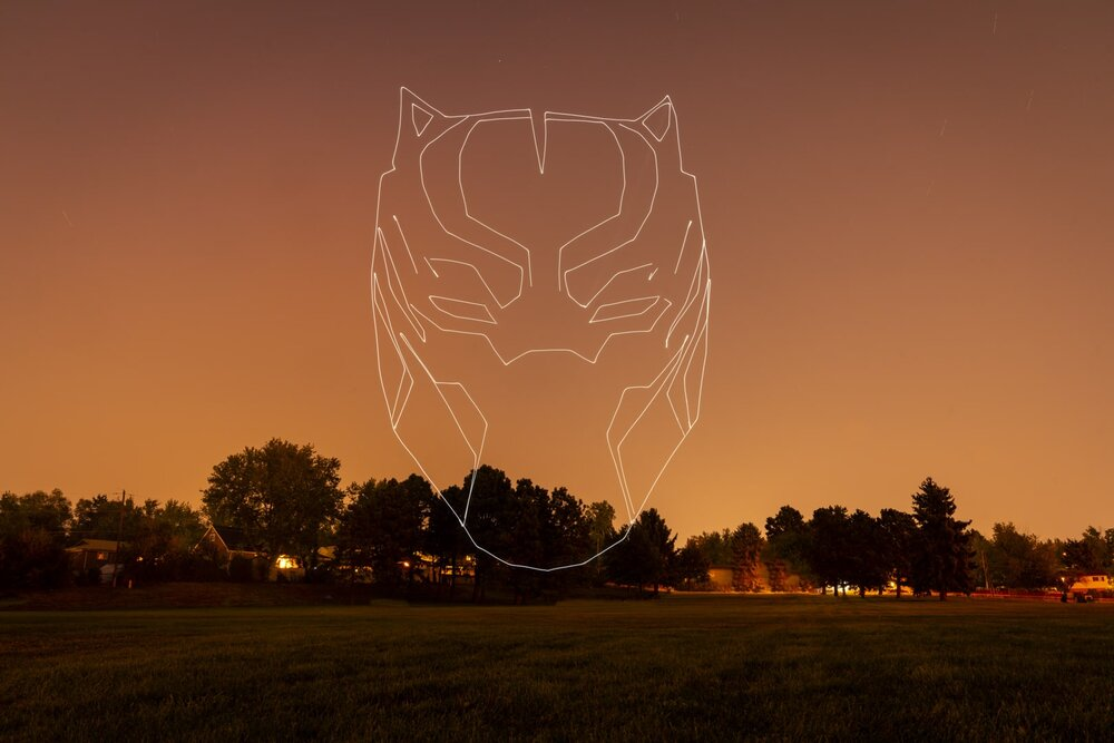 black panther drone light painting