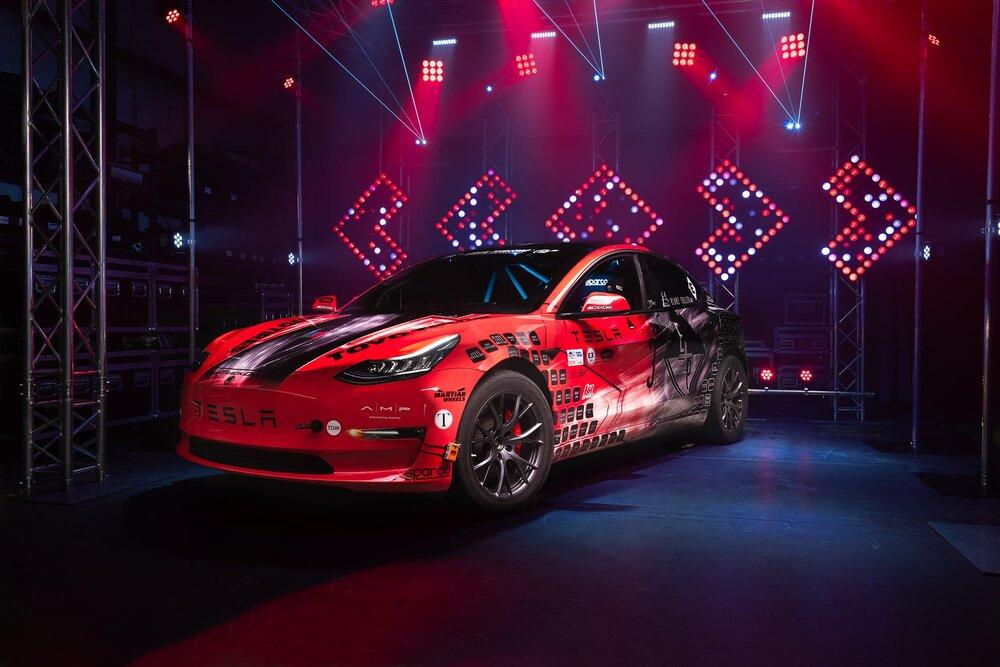 tesla light painting car
