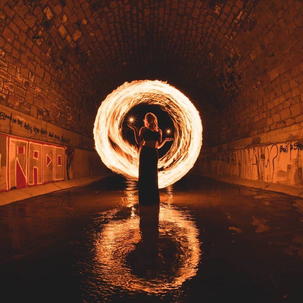 fire circle light painting