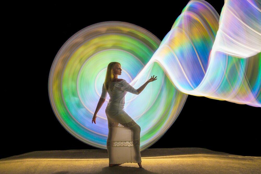 light painting rainbow tube