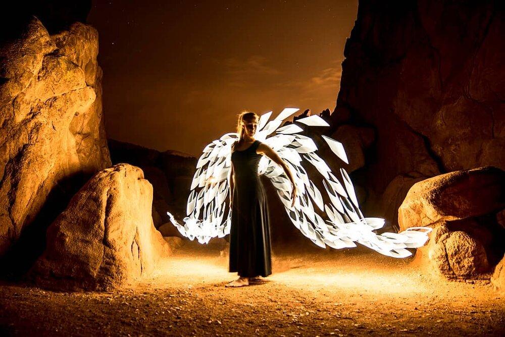 light painting angel wings