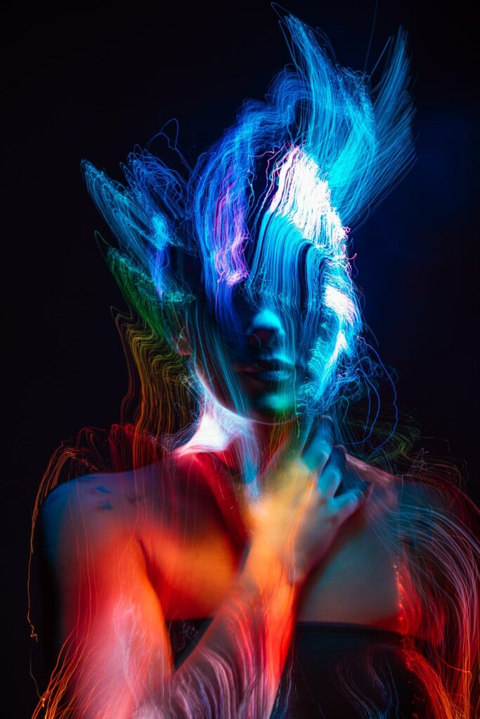 abstract light painting portrait